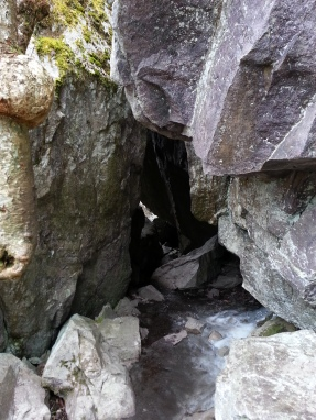 into caves,