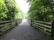 across old railroad trestles,